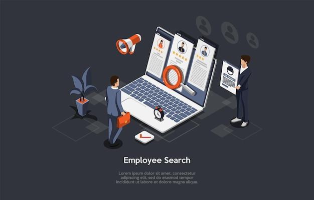 Composición vectorial en el proceso de búsqueda de empleados, contratación de puestos vacantes, selección de candidatos y concepto de entrevistas. ilustración isométrica, estilo de dibujos animados 3d. empresarios de pie junto a la computadora.