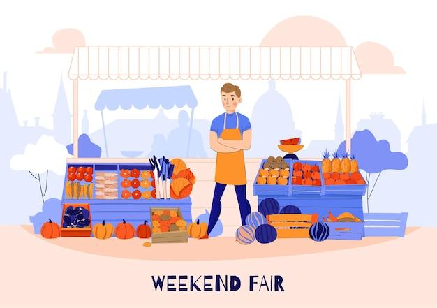 Composición de vendedor de verduras de frutas con carácter humano frente a puesto de frutas con ilustración de mercado