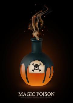 Composición de veneno realista coloreada con título de veneno mágico y scull en botella