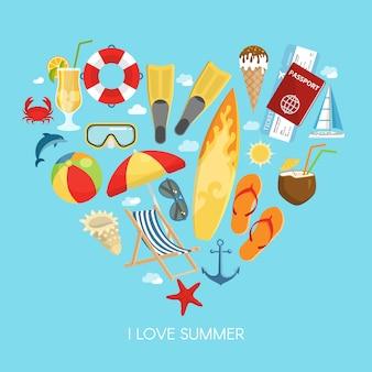 Composición de verano del corazón