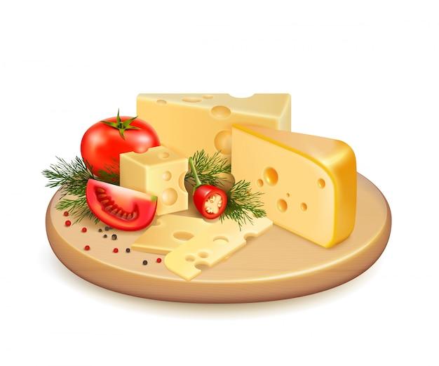 Composición de verduras de queso
