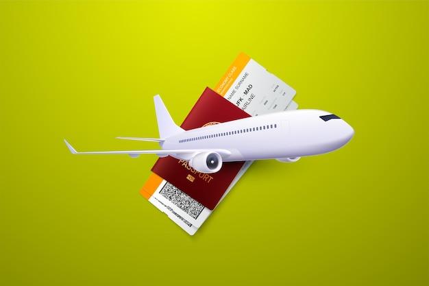 Composición de viaje con pasaporte, tarjeta de embarque y avión.