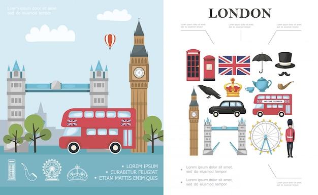 Composición de viaje plano a londres con autobús big ben tower bridge guardia real británica y elementos nacionales de gran bretaña