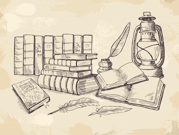 Composición de viejos libros de escritura a mano.