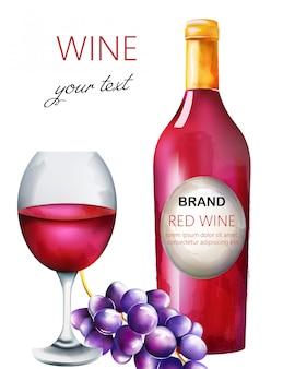 Composición de vino tinto acuarela con botella, uvas y vaso lleno
