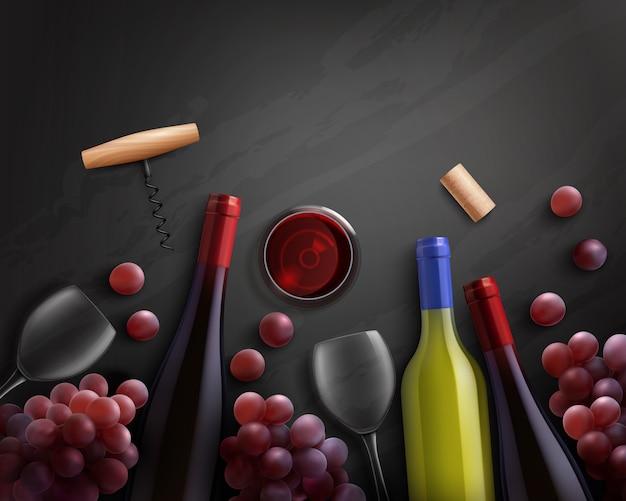 Composición del vino con vino tinto y blanco y uvas.