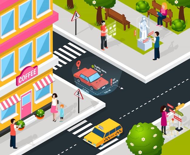 Composición virtual de realidad aumentada de la ciudad