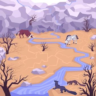 Composición con vista exterior de tierras secas con árboles secos y animales bebiendo del arroyo