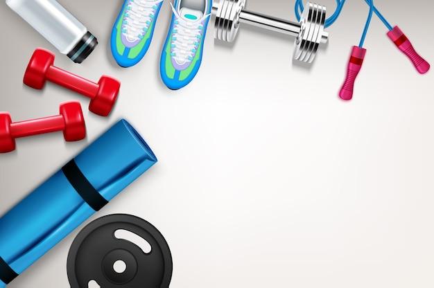 Composición de la vista superior de fitness con zapatillas de deporte con mancuernas que saltan la estera de la cuerda para ejercicios con barra de disco realista