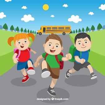 Composición de vuelta al colegio con niños de diseño plano