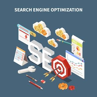Composición web seo isométrica aislada con título de optimización de motor de búsqueda y diferentes elementos en la ilustración de aire
