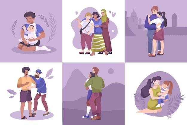 Composiciones de abrazos con pareja, padre e hijo, madre e hijo y amigos.
