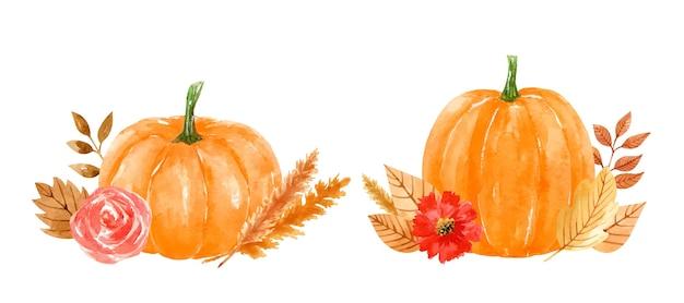 Composiciones de acuarela con calabazas naranjas, flores, hojas doradas, ramitas y trigo.