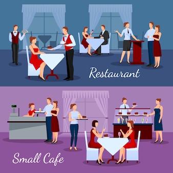 Composiciones de catering ambientadas con restaurante y pequeños símbolos de cafetería