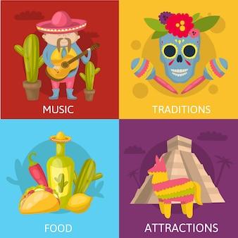 Composiciones de color mexicano conjunto de cuatro iconos cuadrados con tradiciones musicales, comidas y atracciones descripciones ilustración vectorial