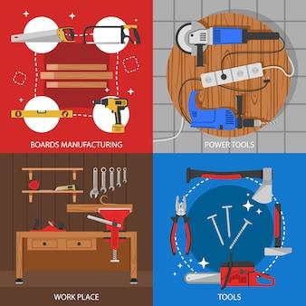 Composiciones coloreadas de carpintería con fabricación de tableros, herramientas eléctricas, instrumentos de trabajo aislados