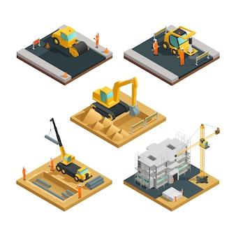 Composiciones de construcción de carreteras y edificios isométricos con equipos de transporte y aislamiento de trabajadores.