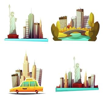 Composiciones de dibujos animados del centro de nueva york con horizontes estatua de la libertad taxi amarillo parque central