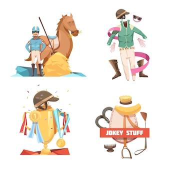 Composiciones de diseño de dibujos animados retro 2x2 de equitación con cosas de jockey y ilustración de vector plano de copa de campeón