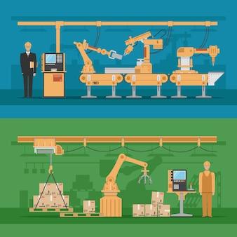 Composiciones de ensamblaje automatizadas con proceso de producción y almacén robótico.