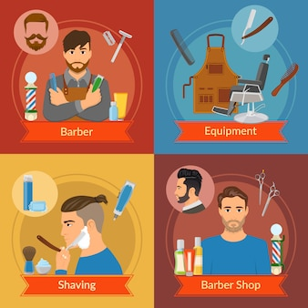 Composiciones de estilo plano de barbero