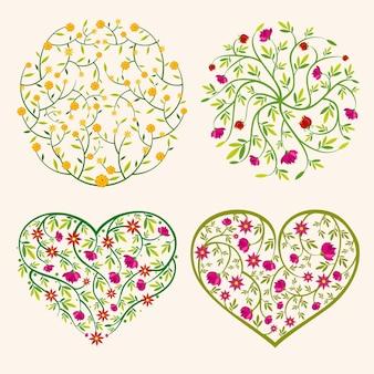 Composiciones de flores de primavera en forma de círculo y corazones.