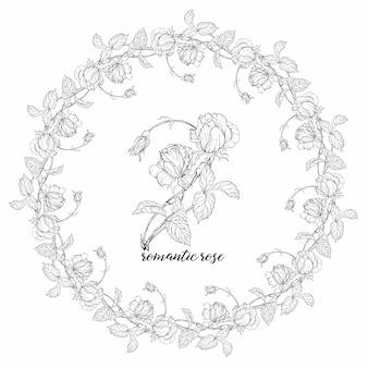 Composiciones con flores rosas. guirnalda floral