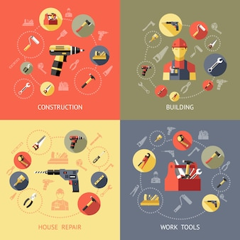 Composiciones de herramientas de trabajo con descripciones de reparación de construcción de casas de construcción ilustración vectorial