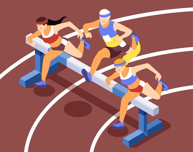 Composiciones de ilustración isométrica de competencia de carrera de pista deportiva con atletas de velocidad corriendo vallas saltando obstáculos