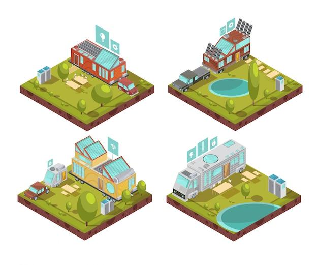 Composiciones isométricas con casa móvil, paneles solares en el techo, íconos de tecnologías en el campamento en verano, ilustración vectorial aislado