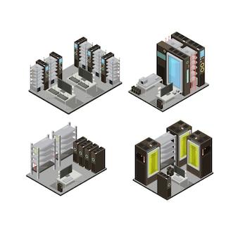 Composiciones isométricas del centro de datos, incluidos servidores de alojamiento para servicios en la nube con estaciones de trabajo para la administración de ilustración vectorial aislada