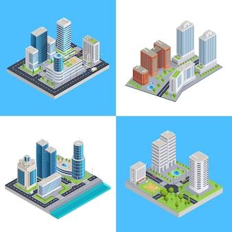 Composiciones isométricas de la ciudad moderna
