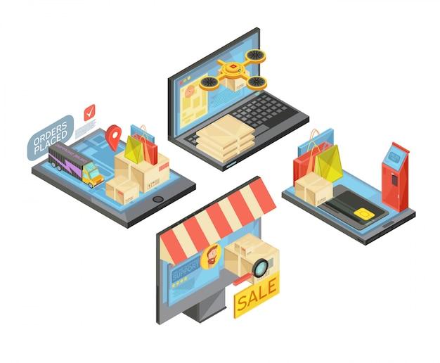 Las composiciones isométricas de compras en línea con paquetes y bolsas, pago, entrega, servicio de asistencia, dispositivos móviles aislados ilustración vectorial