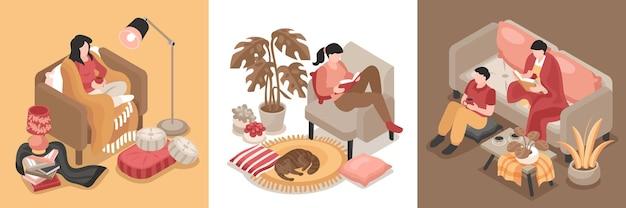 Composiciones isométricas con personas y mascotas descansando en acogedoras habitaciones interiores 3d