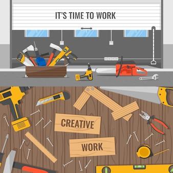 Composiciones de lugares de trabajo y herramientas con espacio de oficina o almacén y mesa de madera para carpintero aislado