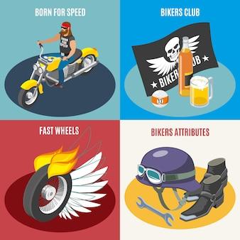 Composiciones de moteros, accesorios de motor club