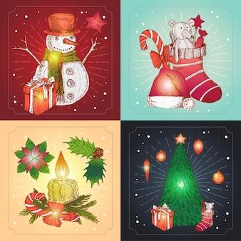 Composiciones navideñas dibujadas a mano