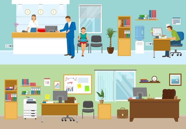 Composiciones de oficina modernas con personas en los lugares de trabajo y nadie en la sala verde aislado ilustración vectorial