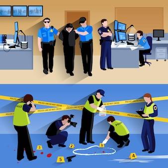 Composiciones pancartas de policías en la oficina y criminalistas que trabajan fuera