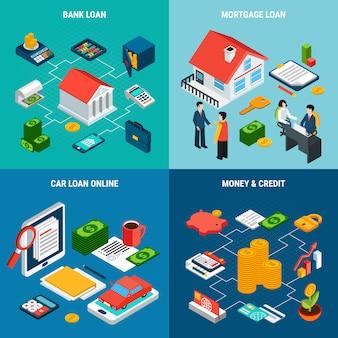 Composiciones de personajes y pictogramas humanos relacionados con la banca financiera