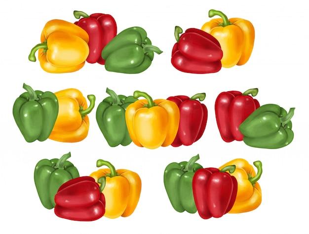 Composiciones de pimiento verde, rojo y amarillo, ilustración dibujada a mano, aislado o