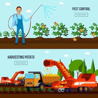 Composiciones planas de cultivo de papa con control de plagas y vehículos agrícolas durante la cosecha aislada