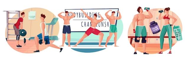 Composiciones planas de culturismo con atletas que entrenan en el gimnasio.