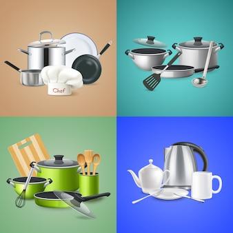 Composiciones realistas de utensilios de cocina.