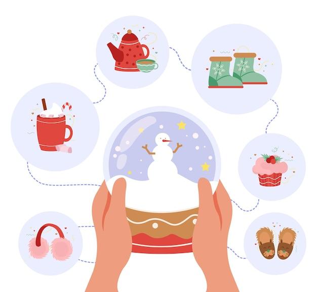Composiciones redondas de feliz invierno