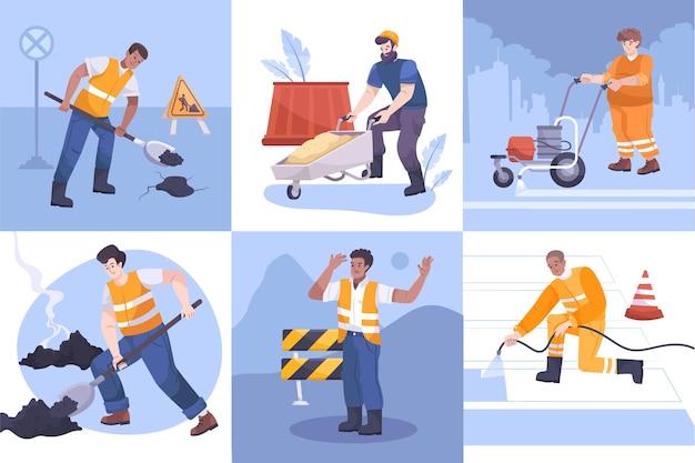 Composiciones de reparación de carreteras con diferentes herramientas y equipos de trabajadores.