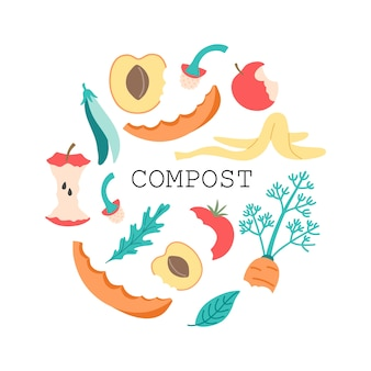 Compost de frutas y verduras, núcleo de manzana de residuos orgánicos, tomate, pimiento, cáscara de plátano, zanahoria y hojas en un estilo de caricatura plana.