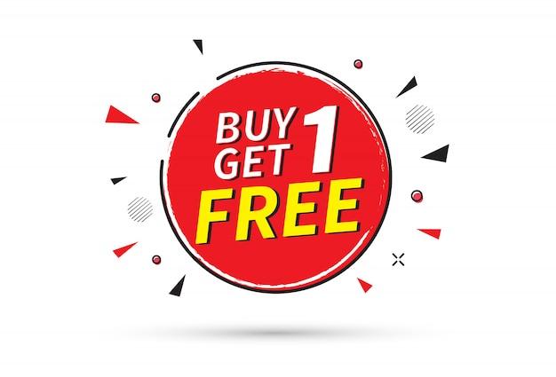 Compra 1 y obten 1 gratis. plantilla de banner de venta.