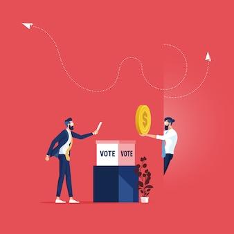 Compra concepto de voto: corrupción en el día de las elecciones, candidato sucio