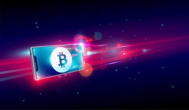 Compra o comercio de criptomonedas en un smartphone volador